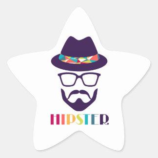 Verres colorés de casquette de hippie frais sticker étoile