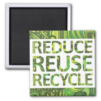 Verringern Sie Wiederverwendung recyceln gehen Quadratischer Magnet