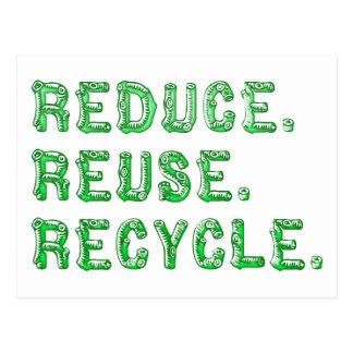 Verringern Sie Wiederverwendung recyceln Postkarte