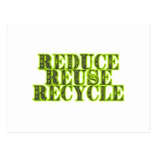 Verringern Sie Wiederverwendung recyceln Vintagen Postkarte