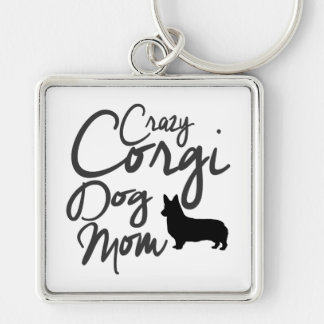 Verrückte Corgi-Hundemamma Schlüsselanhänger