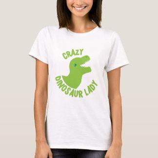 Verrückte Dinosaurier-Dame (in einem Kreis) T-Shirt