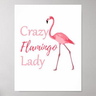 Verrückte Flamingo-Dame Funny Flamingo Poster