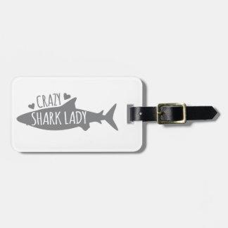 Verrückte Haifisch-Dame Kofferanhänger