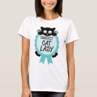 Verrückte Katzen-Dame Craziest Award Paw Print T-Shirt