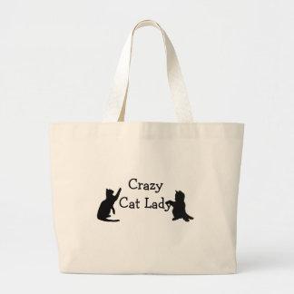 Verrückte Katzen-Dame Fun Animal Art Jumbo Stoffbeutel