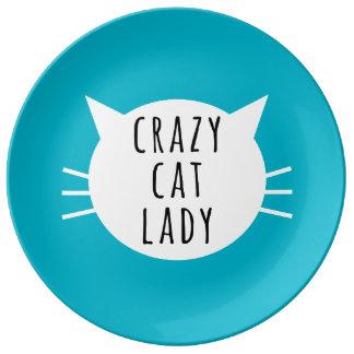 Verrückte Katzen-Dame Funny Plate Teller Aus Porzellan