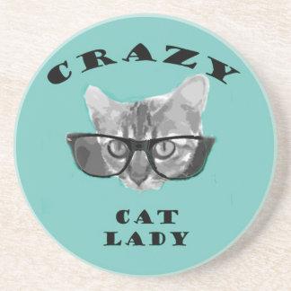 Verrückte Katzen-Dame Funny Slogan mit Getränkeuntersetzer