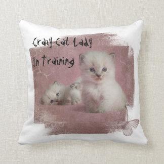 Verrückte Katzen-Dame In Training Kissen