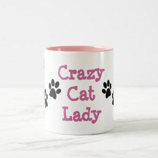 Verrückte Katzen-Dame Pawprints Design Coffee Mug Zweifarbige Tasse
