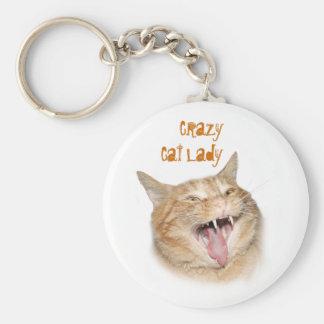 Verrückte Katzen-Dame Schlüsselanhänger