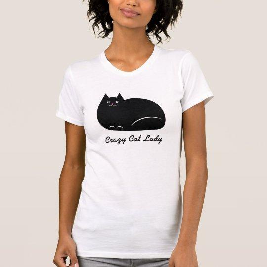 Verrückte Katzen-Dame schwarze Katze T-Shirt