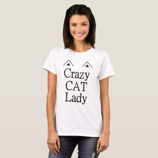 Verrückte Katzen-Dame T-Shirt