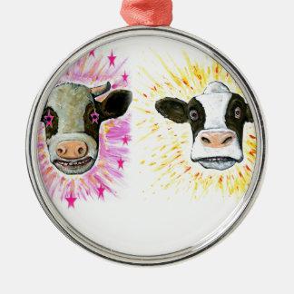 Verrückte Kühe Silbernes Ornament