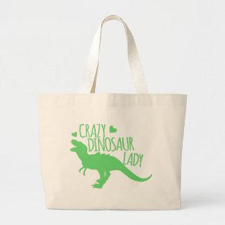 verrückter Dinosaurierdame Tyrannosaur im Grün Jumbo Stoffbeutel