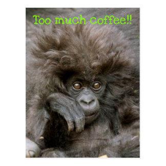 Verrückter Haar-Affe zu viel Kaffee-Postkarte Postkarte