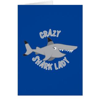 verrückter Haifischdamenkreis Karte