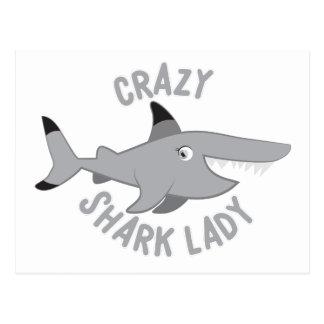 verrückter Haifischdamenkreis Postkarte