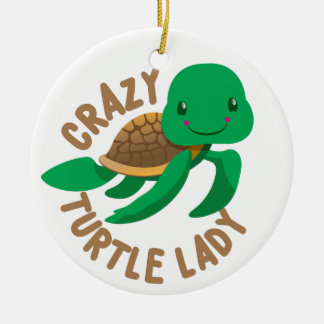 verrückter Schildkrötedamenkreis Keramik Ornament