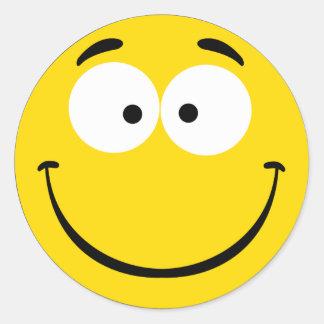 Verrückter smiley runder aufkleber