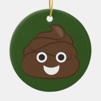 Verrücktes albernes Brown kacken Emoji Keramik Ornament