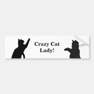 VERRÜCKTES CAT-DAME Spaß Zitat für Autoaufkleber