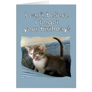 Verrücktes Kätzchen-verspäteter Geburtstag Karte