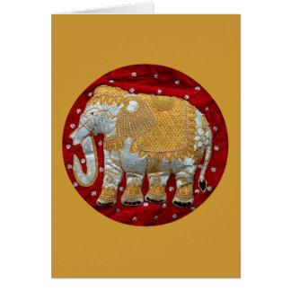 Verschönertes indischer Elefant-Rot und Gold Karte