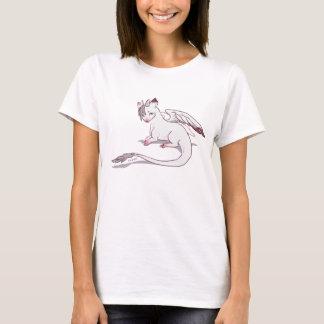 Versehen Sie das weiße Drache-T-Stück mit Federn T-Shirt