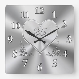 Versilbern Sie 25. Hochzeitstag-Uhren Quadratische Wanduhr