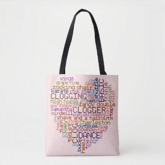 Verstopfungs-Tanzschritte Clogger Wort-Kunst-Herz Tasche