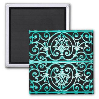 Vert-de-gris et motif noir de scrollwork magnet carré