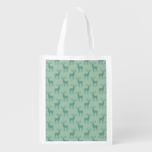 Vert de motif de silhouette de cerfs communs de mâ sac réutilisable d'épcierie