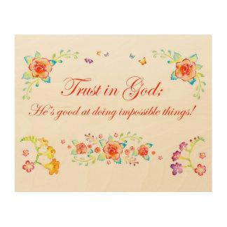 Vertrauen im Gott Holzwanddeko