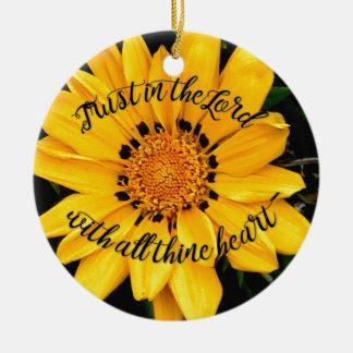 Vertrauen im Lord Bright Yellow Flower Rundes Keramik Ornament