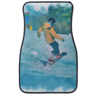 Verwegener Snowboarder am Schnee-Erholungsort - Automatte