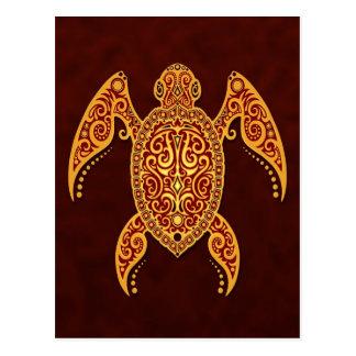 Verwickelte goldene Meer-Schildkröte Postkarte