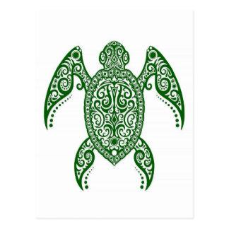 Verwickelte grüne Meeresschildkröte auf Weiß Postkarte