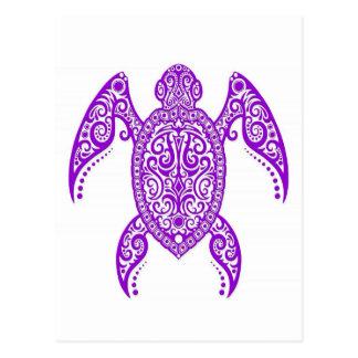 Verwickelte lila Seeschildkröte auf Weiß Postkarte