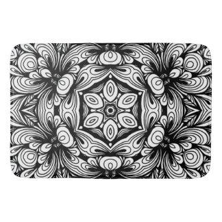 Verwickeltes klassisches Blumenmuster Schwarzweiss Badematte