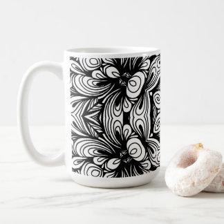 Verwickeltes klassisches Blumenmuster Schwarzweiss Kaffeetasse