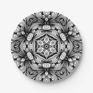 Verwickeltes klassisches Blumenmuster Schwarzweiss Pappteller