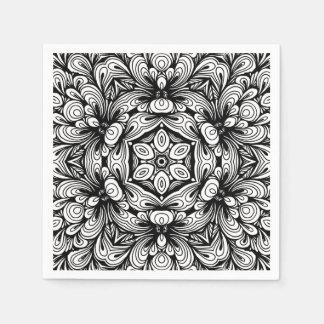 Verwickeltes klassisches Blumenmuster Schwarzweiss Servietten