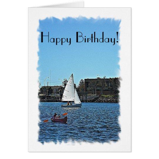 Verwirrung ungefähr in der Boote Geburtstags-Karte Karte
