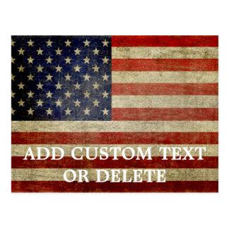 Verwitterte, beunruhigte amerikanische Flagge Postkarte