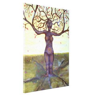 """""""Verwurzelte"""" Baum-Göttin-Kunst Leinwanddruck"""