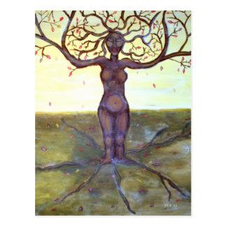 """Verwurzelte"" Baum-Göttin-Kunst Postkarte"