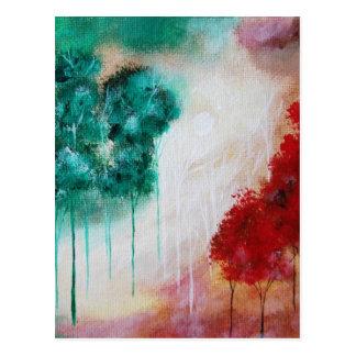 Verzauberte abstrakte Kunst-Landschaftsdünne Bäume Postkarte