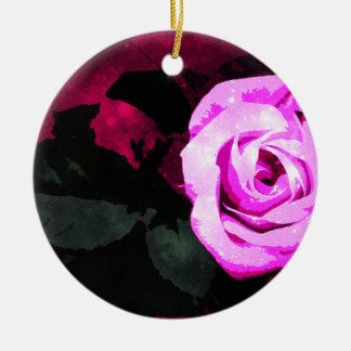 Verzauberte Rose Rundes Keramik Ornament