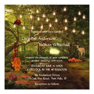 Verzauberte Waldschnur beleuchtet Quadratische 13,3 Cm Einladungskarte